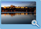 A night view of The Prague Castle and The Charles Bridge